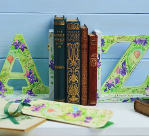 Painted Floral Book Ends