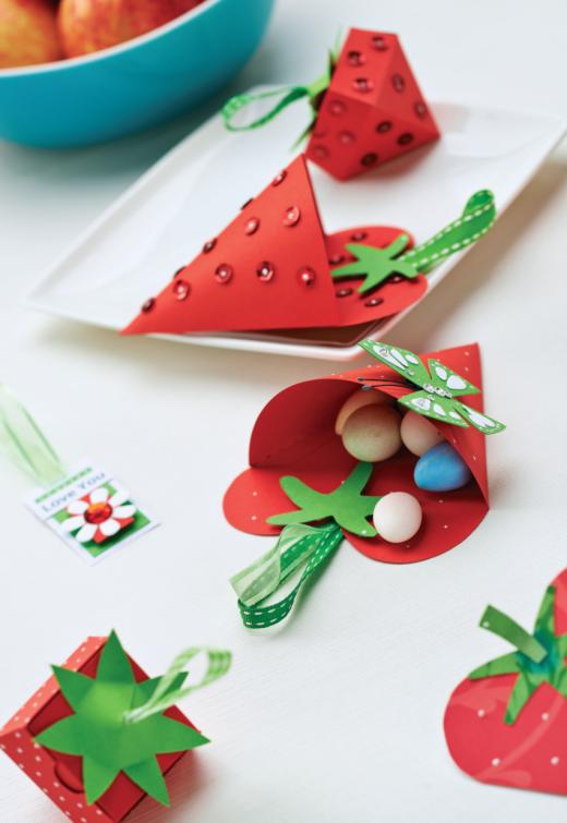 papercraft strawberries