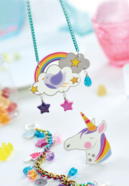 Rainbow & Unicorn Shrink Plastic Jewellery - Free Craft Project ...