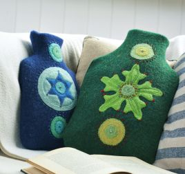 Recycled Jumpers Felted Into Hottie Covers