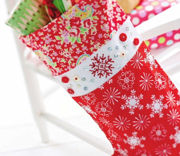 Snowflake Cross-Stitch Stocking - Free Card Making Downloads ...