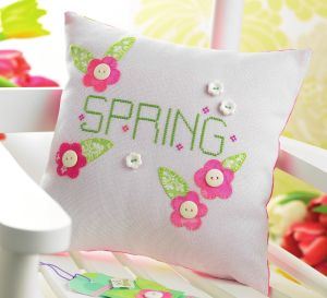 Spring cross-stich pillow