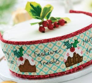 Stitched Christmas Cake Band and Topper