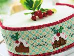 Stitched Cake Band And Topper With Pudding Motifs