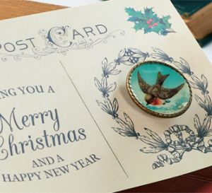 Vintage Christmas Brooch Postcard
