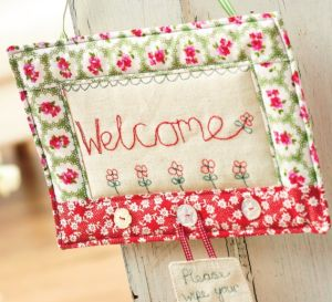 Free-Motion Stitched Welcome Sign