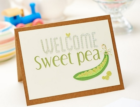Welcome Sweetpea Papercut Baby Card