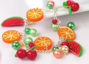 Polymer Clay Fruit Charm Bracelet