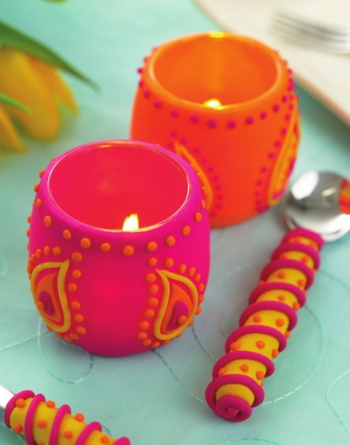 Funky Polymer Clay Candle Holder Tutorial - Free Craft Project – More Crafts - Crafts Beautiful ...