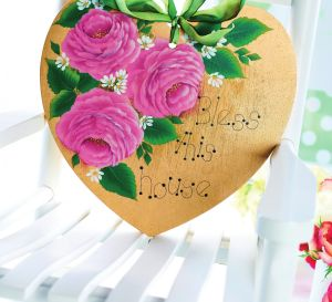 Decorative Painted Rose Plaque