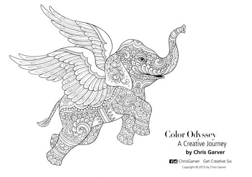 flying elephant colouring in page - free card making