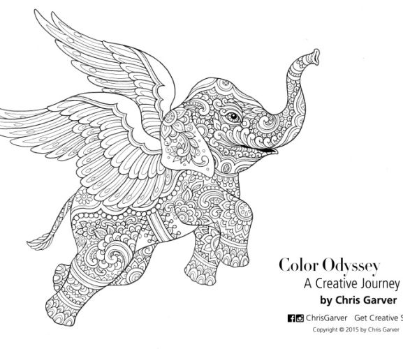Flying Elephant Colouring In Page  Free Card Making Downloads