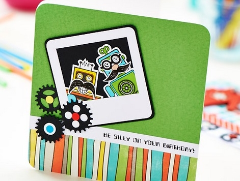 Robot Themed Moustache Cards