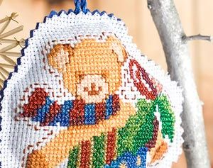 Cross-stiched Teddy Stocking Free Project