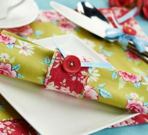 Stitched Tilda  Place Mat & Napkin Ring